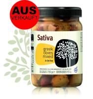 Oliven Mix mit aromatischen Gewürzen, Lorbeer & Knoblauch von SATIVA